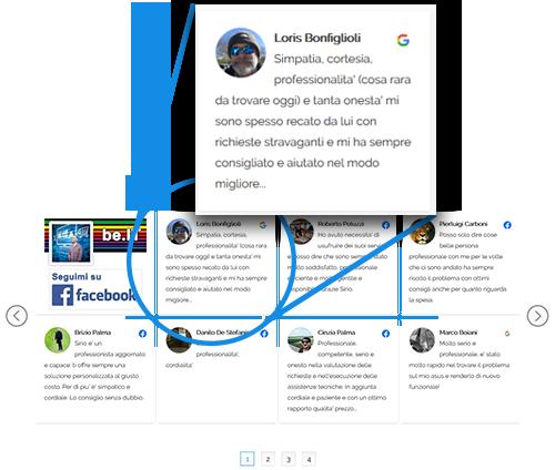 slider delle recensioni dei clienti sui social