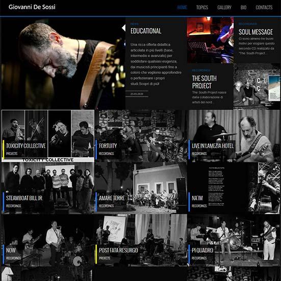 Giovanni De Sossi schermata dell'home page