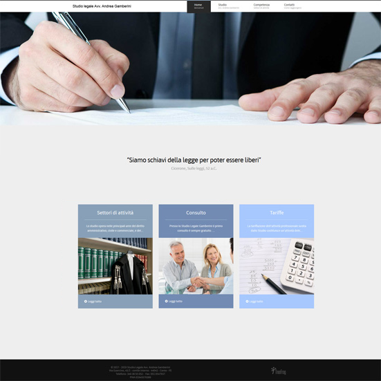 schermata del sito web